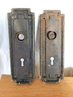 2 Matching Art Deco Vintage Skeleton Key DOOR PLATE Cover Backplates Escutcheon