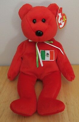 MINT TY Beanie Baby Osito Mexico Mexican Bear With Flag DOB 2/5/1999  **CUTE**