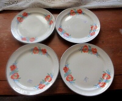 "Vintage Hall China Orange Poppy  4   7"" Lunch-On Plates"