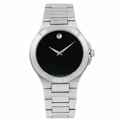 Movado Corporate Exclusive Black Dial Stainless Steel Quartz Mens Watch 0606163