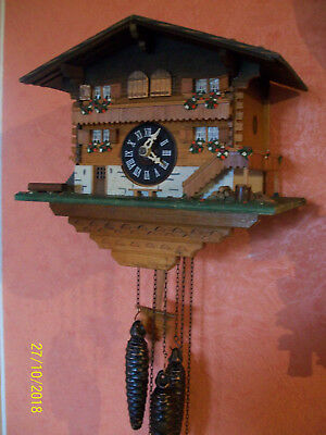 Vintage Collectable Chalet Style Cuckoo clock 2 door musical Chime & Cuckoo / WO