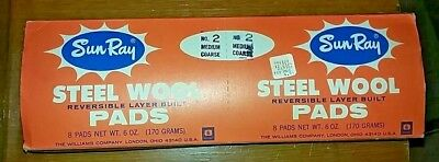Vintage Sun Ray Steel Wool Pads No. 2 Medium Coarse Original Package 16 Pads