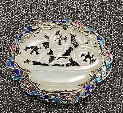 Chinese Carved Jade Pendant In Enameled Silver Pin