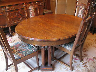 ANTIQUE 1800's OAK EXTENDED DINING ROOM SUITE SIDE BOARD CHINA CABINET SERVER 6