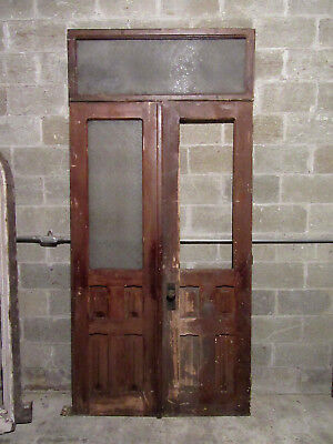 ~ Antique Double Entrance French Doors With Transom ~ Doors 48 X 83.5 ~ Salvage