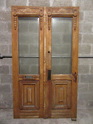 ~ Antique Carved Double Entrance French Doors Beveled Glass ~ 48 X 82 ~ Salvage