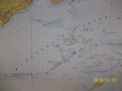 Nautical Map Of Mississippi Sound & Approaches Dauphins Island To Cat Island  67