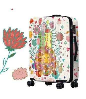 D352 Lock Universal Wheel Multicolor House Travel Suitcase Luggage 28 Inches W