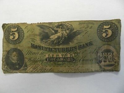 1862 $5 The Manufacturers Bank note Georgia