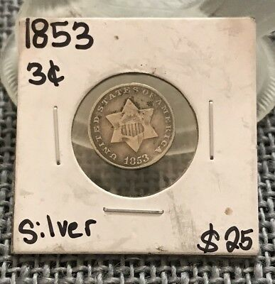 1853 Three Cent Nickel 3C ~  U.S. Silver Coin