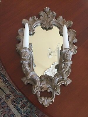Rococo Style Candle Holder Wall Sconce Mirror Scroll Carved 20th Century
