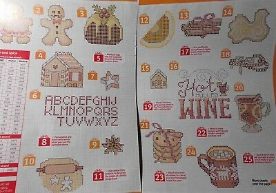 Stickvorlage,Point de Croix,50 Motive,Weihnachten,Cookies,Lebkuchen,Dmc