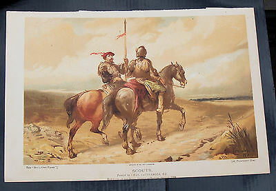 Bargain Victorian 2 Military Chromolith Prints In Good Condition For Framing
