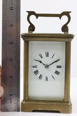 SMALL STRIKING CARRIAGE CLOCK time working but strike spring bust FOR PARTS