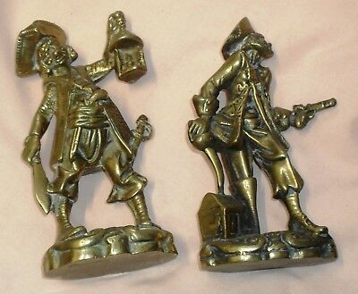 TWO OLD SOLID ENGLISH BRASS PIRATES  SUPERB c1940/50 - VERY HEAVY