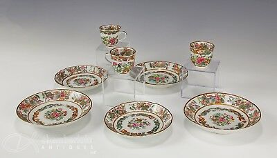 Lot Of Antique Chinese Famille Rose Porcelain Plates Saucers Cups Etc