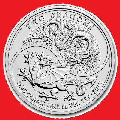 2018 1oz silver Two Dragons Great Britain Bullion Coin in COIN CAPSULE