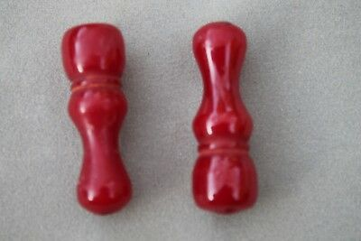 2x lucite red prayer necklace end beads
