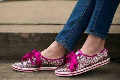 45edbb6a030 Womens sz 8 Keds For Kate Spade Glitter Snapdragon Pink Satin Shoes  Sneakers new