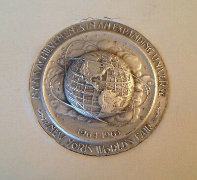 1964-65 NY World's Fair Silver Medallion with Box and Booklet (Unisphere, NYC)