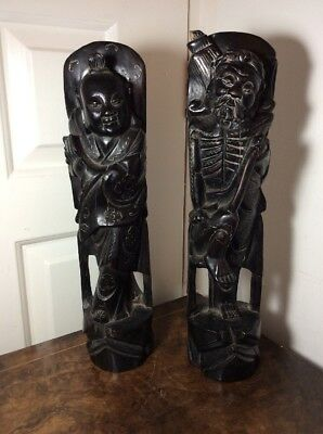 Antique pair of 19th Century Chinese Hardwood Silver Inlaid Figures