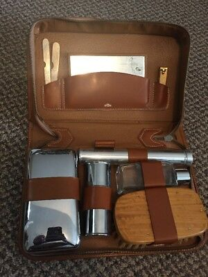 VTG  Men's Travel Vanity Grooming Toiletry Razor Kit Leather Case From ENGLAND