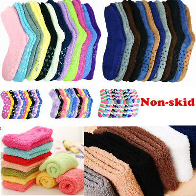 Lot 3-10 Pairs Mens Womens Soft Cozy Fuzzy With Non Skid Socks Home Warm Slipper