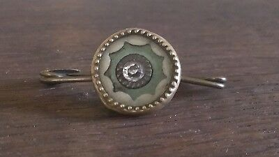 Antique Georgian button brooch Mother Of Pearl Cut Paste Stone Green Surround