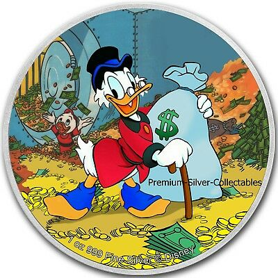 2018 Niue Disney Scrooge McDuck!  - 1 Ounce Pure Silver .999 Coin!!