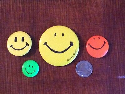 Vintage Smiley Face Pin Pinback Lot Of 4