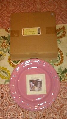 "Longaberger Woven Traditions Pink 10"" Dinner Plate NEW IN BOX - Retired HTF"