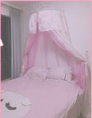 Double Size Pink Lace Ceiling Mosquito Net Bedding Bed Curtain Netting Canopy#