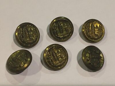 Lot of 6 antique metal & or brass buttons picture design