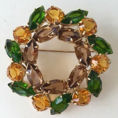 """2"""" wide Round Gold Tone Green Yellow Brown Navette Rhinestones Wreath Brooch Pin"""