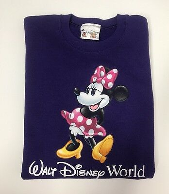 WALT DISNEY WORLD Girls XL Mini Mouse Printed Sweater Solid Purple Long Sleeves