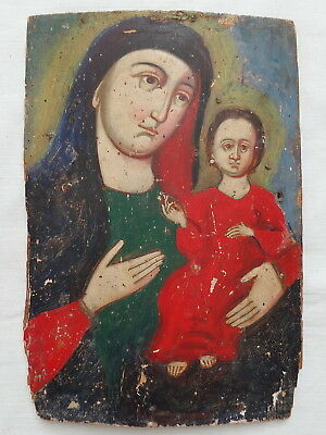 Antique Russian Orthodox Icon Blessed Mother Mary Child Jesus Christian Painting