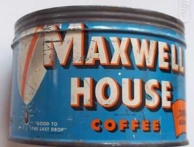 Vintage Antique MAXWELL HOUSE COFFEE One Pound Can. No Lid. Shelfwear / Tarnish