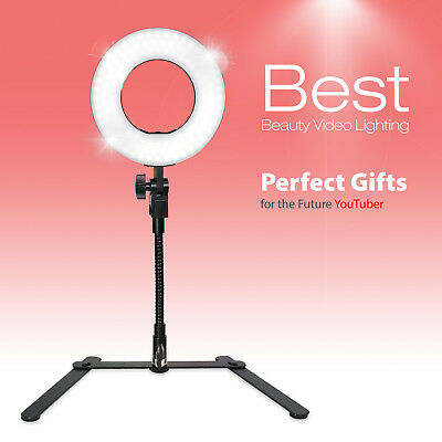 Vlogger YouTuber/ Dimmable Selfie Makeup Ring Light with Gooseneck Table Stand