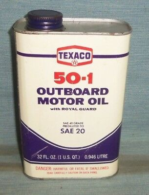 Vintage Texaco 50-1 Outboard Motor Oil Metal Quart Can
