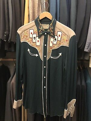 H Bar C Vintage 1940s/50's Embroidered Western Shirt Poker Cards, Size Medium