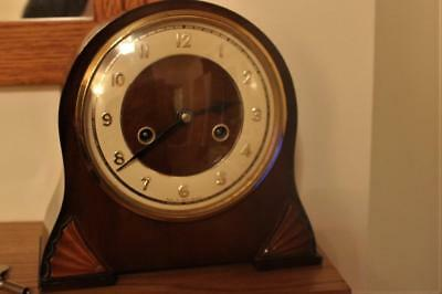 Working Vintage Art Deco Mahogany Cased Mantel Clock Smiths Enfield
