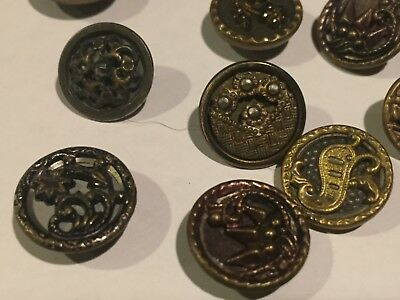 Lot of 10 mixed antique metal & or brass buttons