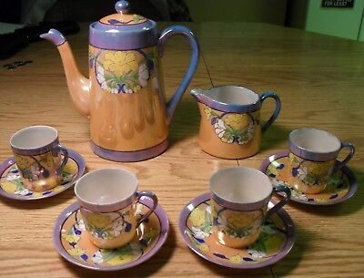 Vintage Japan Lusterware Tea Set Blue Orange Floral