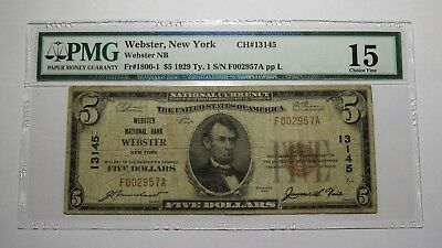 $5 1929 Webster New York NY National Currency Bank Note Bill! Ch. #13145 PMG