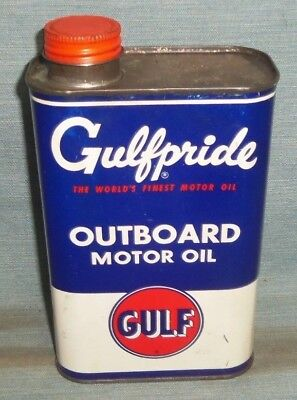 Vintage Gulf Gulfpride Outboard Motor Oil Metal Quart Can