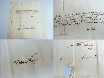 Franz KUGLER (1808-1858): Sign. Brief BERLIN um 1829 an Moritz VEIT wg. ALMANACH
