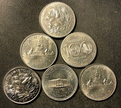 Old Canada Coin Lot - 6 AU/UNC Large Dollar Coins  - Lot #N14