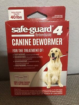 Safe-guard 4 Canine Dewormer 3-4 gram Pouches For 3 Day Treatment.