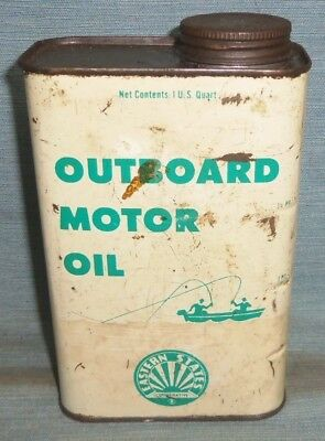 Vintage Eastern States Outboard Motor Oil Metal Quart Can