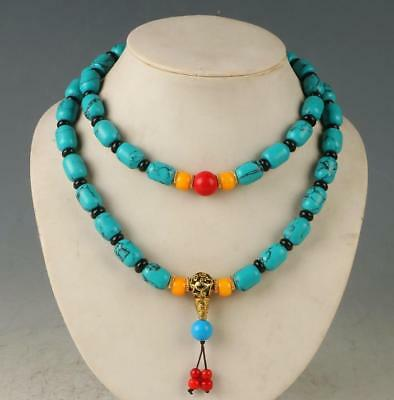 100% Natural Turquoise & Beeswax Handwork Decoration Necklaces RX059`a